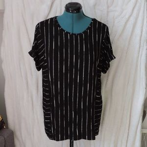 Apt. 9 Striped Tunic Short Rolled Sleeve Soft